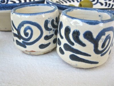 Chupito cup shot glass PAIR ~ blue swirls
