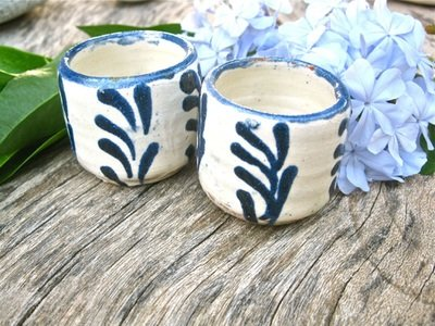 Chupito cup shot glasses ~ blue palms, SET OF 2