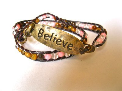 BELIEVE bracelet ~ coral + tigers eye