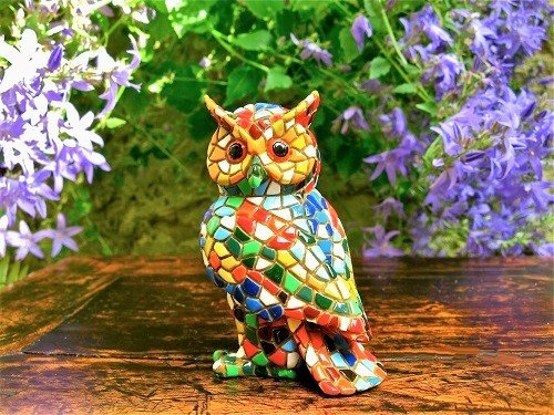 Spanish ceramic Owl figurine for safekeeping ~ Delfina