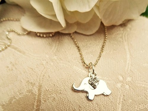 Lucky elephant necklace + heart - gift for New Beginnings