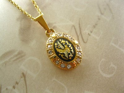 Damascene oval necklace ~ gold & zirconita