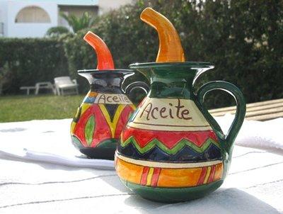 Spanish ceramic olive oil pourer ~ Indalo