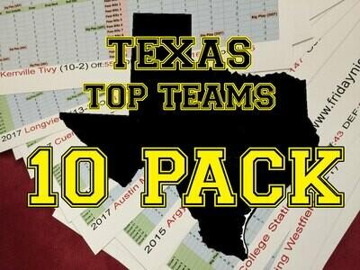 Top Texas Teams 10 Pack - FNL team sheet