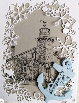Stonington Lighthouse Winter Scene