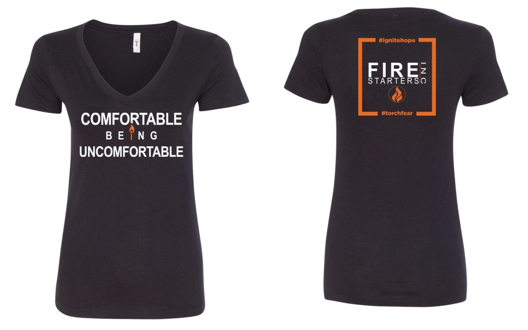Women's Comfortable Being Uncomfortable V-neck T shirt (Black)