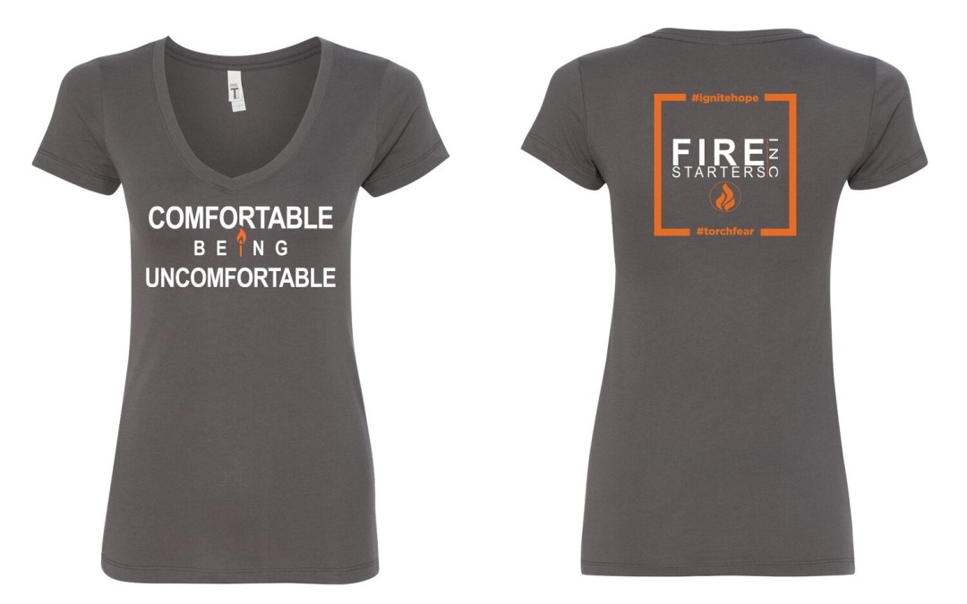 Women's Comfortable Being Uncomfortable V-neck T shirt (Dark  Gray)