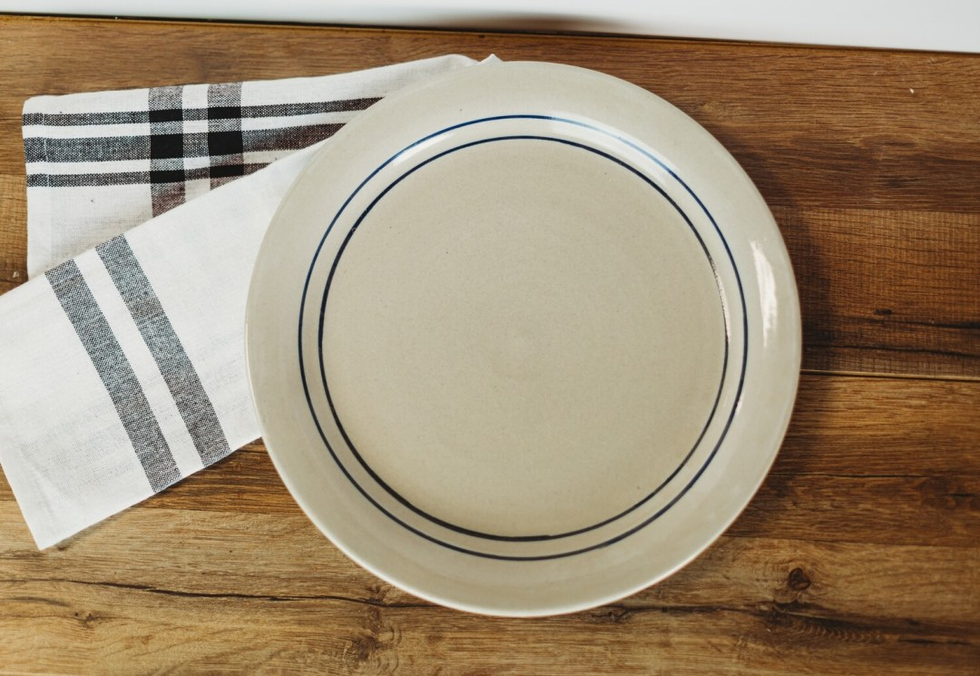 Salad Plate Blue Stripe