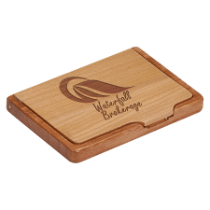 Maple/Rosewood Finish Business Card Holder