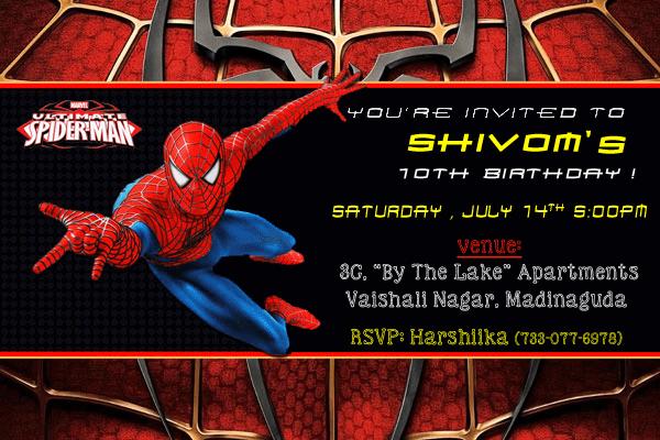 personalized spiderman birthday invitation cards 16 pcs