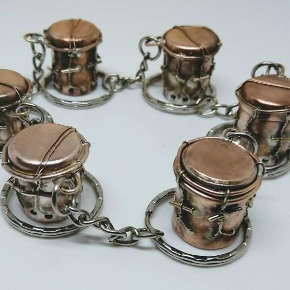 Hand-Crafted Copper Garifuna drum keychains