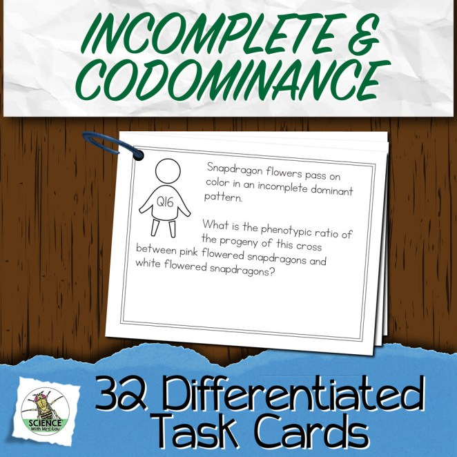 Incomplete Dominance and Codominance Task Cards