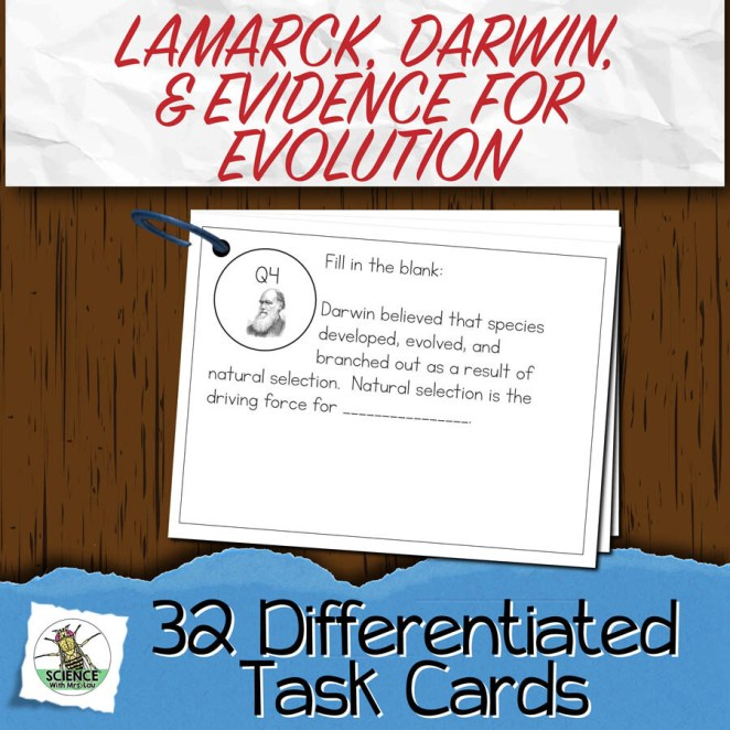 Lamarck, Darwin, and Evidence Task Cards