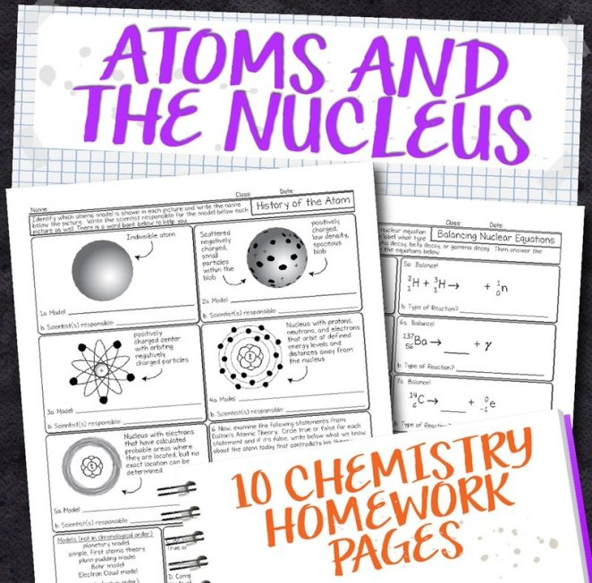 Chemistry Unit 3: Atoms and the Nucleus Homework Pages