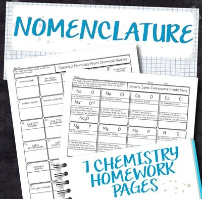 Chemistry Unit 6: Nomenclature Homework Pages
