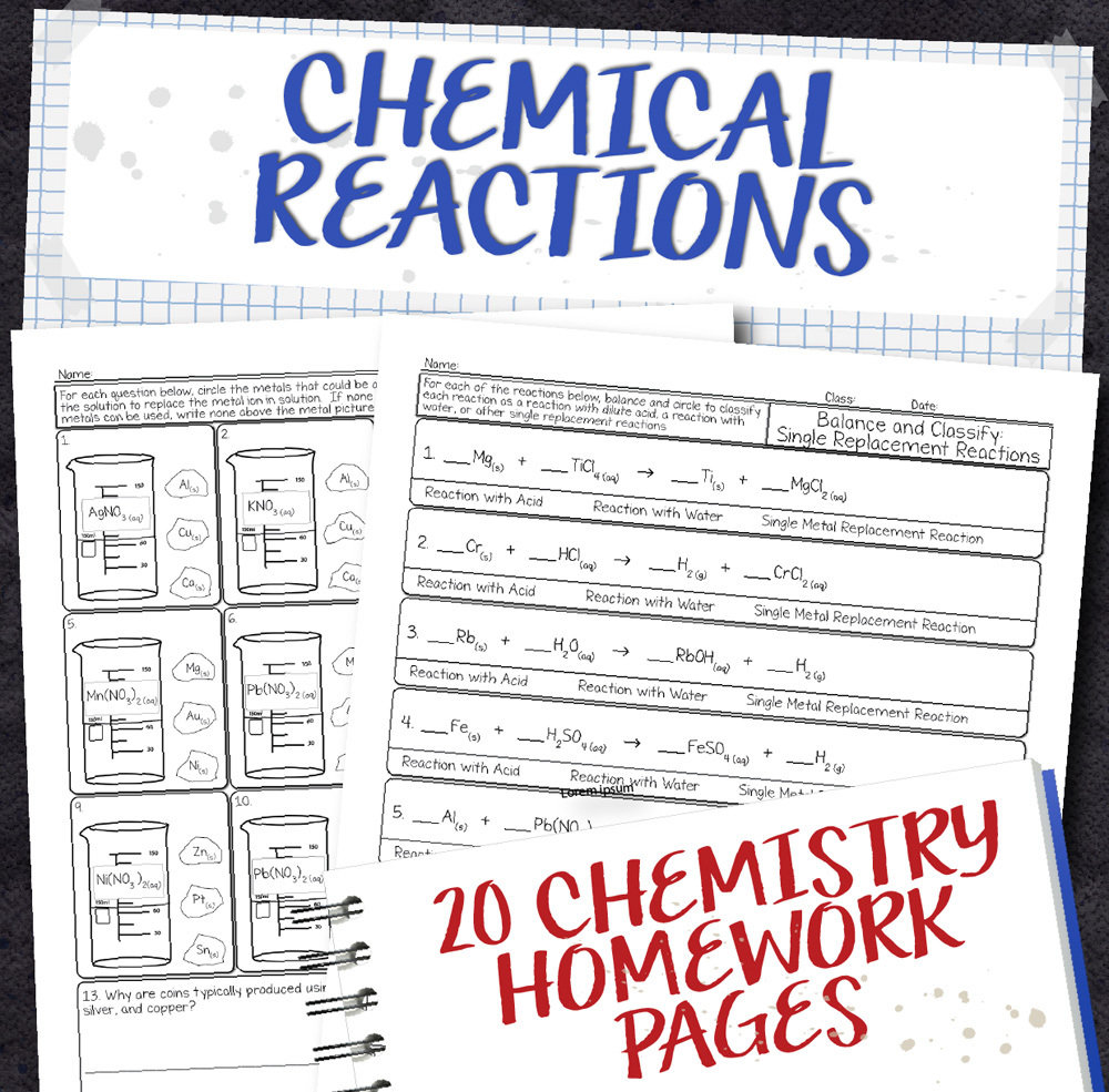 medium resolution of Chemistry Unit 8: Chemical Reactions Homework Pages   Store - Science and  Math with Mrs. Lau
