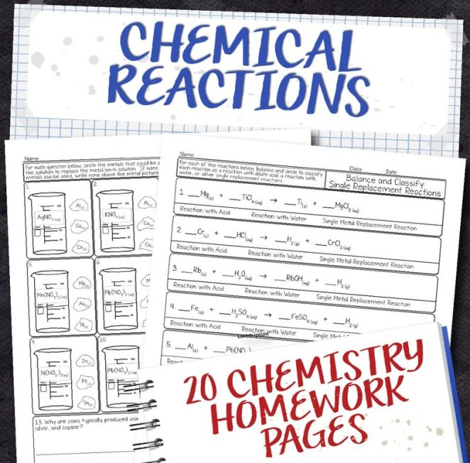 Chemistry Unit 8: Chemical Reactions Homework Pages