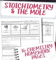 Chemistry Unit 9: Stoichiometry Homework Pages   Store - Science and Math  with Mrs. Lau [ 985 x 1000 Pixel ]