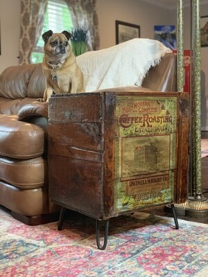 Rustic End Table, End Table with Storage, Hairpin Legs