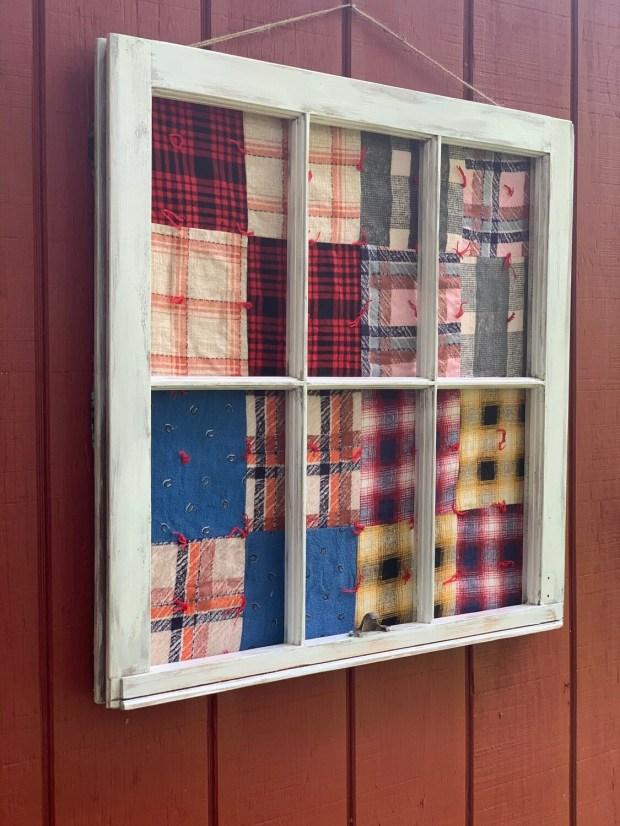 Vintage Framed Flannel Quilt, Vintage Window
