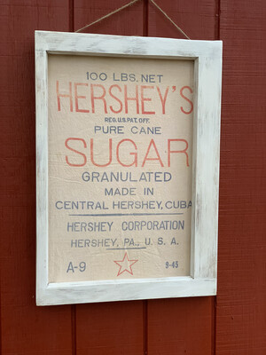 Framed Hershey's sugar sack, Vintage Window
