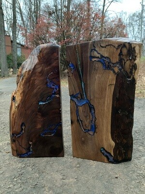 Pair of Black Walnut Slabs, Live Edge Wall Art