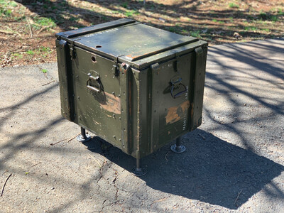 Trunk Table, Army Trunk End Table, Industrial Furniture