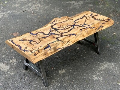 Live Edge Coffee Table, Industrial Legs, Rustic Table