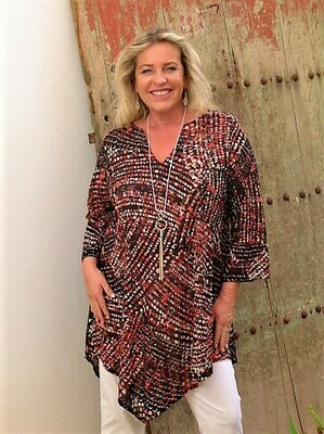 KASBAH Tanisi – Abstract spiral print Kaftan tunic