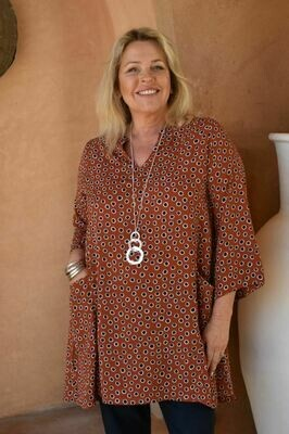 Topazi - Spot print Kaftan tunic top with pockets