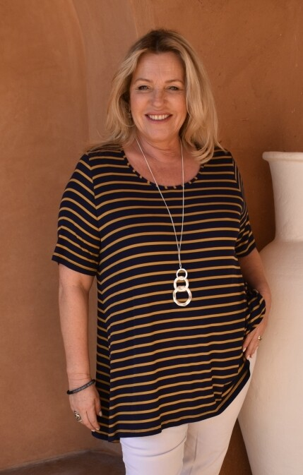 KASBAH Terema -Short Sleeve Stripe Jersey Top