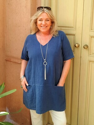 KASBAH Terrie - Denim Short Sleeve Linen Top