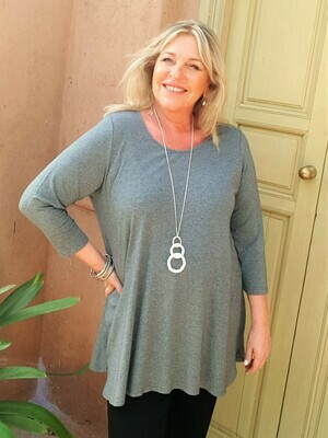 KASBAH Tesna - Soft grey Jersey top with 3/4 sleeve