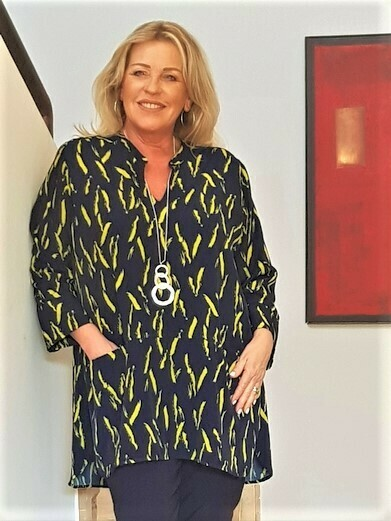 KASBAH Trance - Soft Navy/Lime tunic top