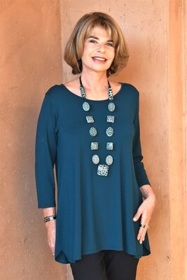 KASBAH Tessina 2 - Petrol Blue Jersey Top