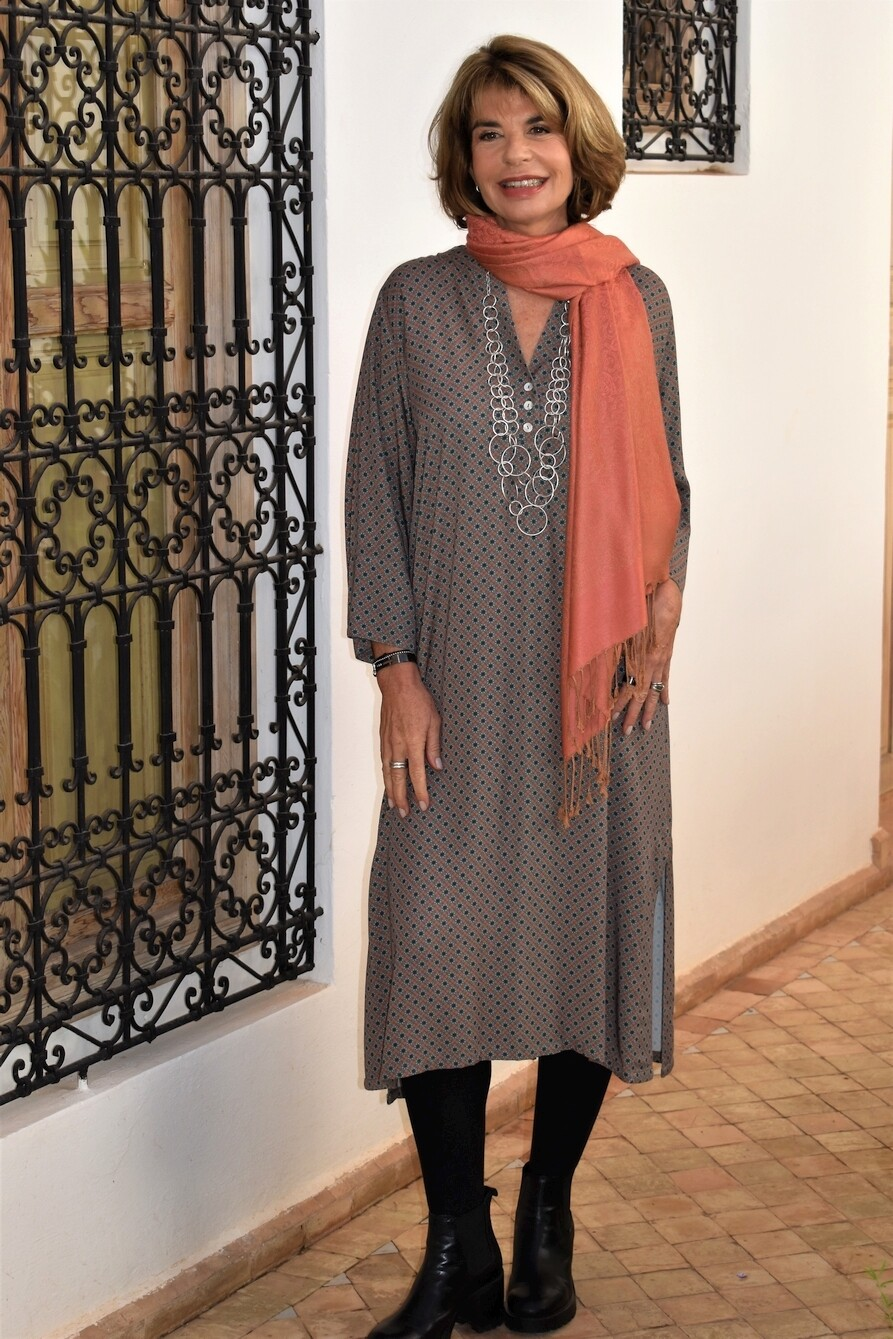 KASBAH Raissa 2 - Teal Mosaic Print Long Tunic/Dress