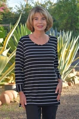 Kasbah Talaya - Black Stripe Long Sleeve Jersey Top