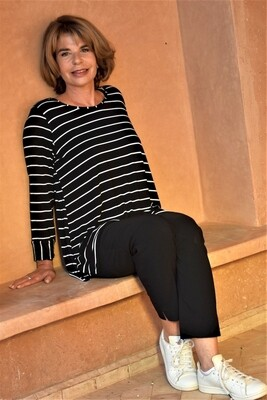 Kasbah Talaya - Black Stripe Long Sleeve Jersey Top