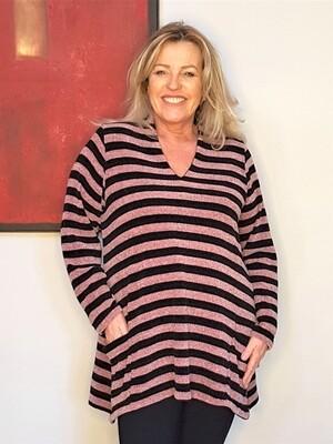 Kasbah Kendra - Soft Chenille Stripe Jumper, Soft Pink/Black