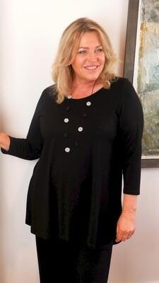 KASBAH Tessina - Black Jersey 3/4 sleeve T-Shirt