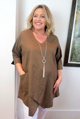 Kasbah Tessie - Khaki Asymmetric Linen Tunic Top