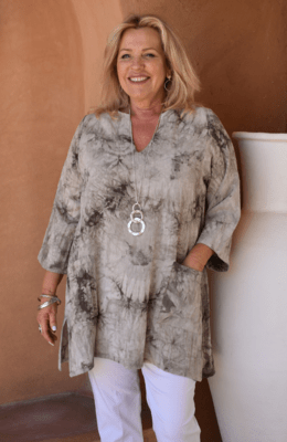 KASBAH Trevia - Tie-dye Kaftan style tunic top - Sand