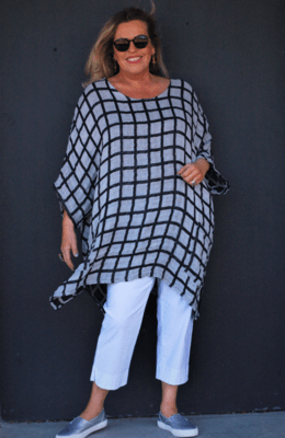 Kasbah Tendai - Check linen one size top