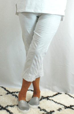 Robell Marie - Crop Trousers White Seersucker