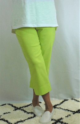 Robell Marie - Crop Trousers Lime