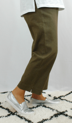 Kasbah Penny - Cropped Linen Trouser - Khaki