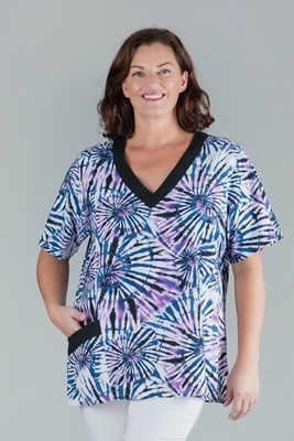 KASBAH Tracy - Short Sleeved Purple Printed Linen Top