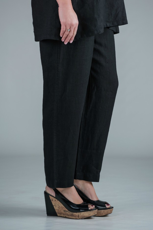 KASBAH Pamela - Black linen trousers straight leg - short or medium length