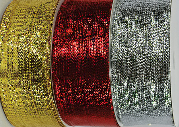 SHIM40RED - #40 Red wired shimmer ribbon (Red Only)