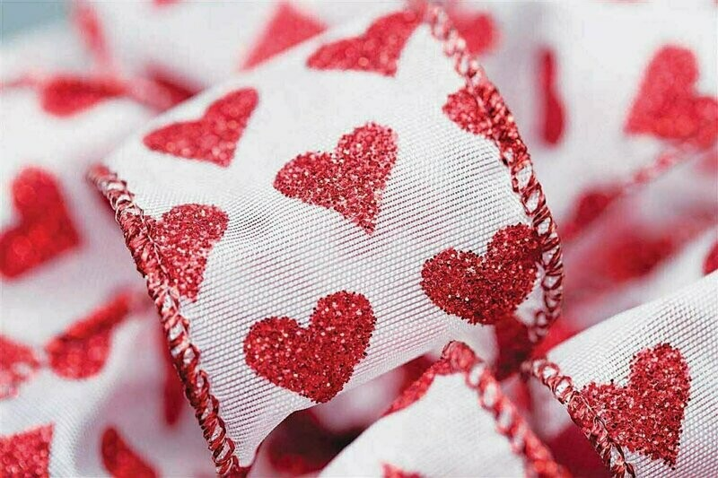 VGLH9 - #9 Red Glitter Wired Ribbon With Hearts